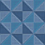 Seamless vector pattern. Symmetrical geometric background with blue rhombus. Decorative repeating ornament Stock Photo