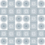 Seamless vector pattern. Symmetrical geometric background with blue squares and circles on the white backdrop. Decorative ornament.  royalty free illustration