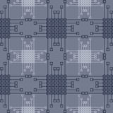 Seamless vector pattern. Symmetrical geometric background with blue squares and lines. Decorative repeating ornament.  Stock Photos