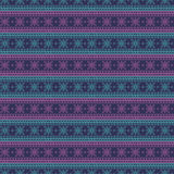 Seamless vector pattern. Symmetrical geometric background with blue and violet lines on the dark backdrop. Decorative ornamen Stock Image