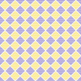 Seamless vector pattern. Symmetrical geometric background with blue and yellow lined rhombus. Simple design Stock Image
