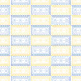 Seamless vector pattern. Symmetrical geometric background with blue and yellow squares on the white backdrop. Decorative ornament Royalty Free Stock Photos