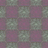 Seamless vector pattern. Symmetrical geometric background with colorful squares and circles on the violet backdrop. Decorative ornament stock illustration