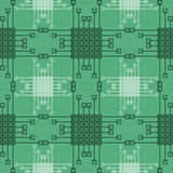Seamless vector pattern. Symmetrical geometric background with green squares and lines. Decorative repeating ornament Stock Photography