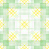 Seamless vector pattern. Symmetrical geometric background with green and yellow rhombus, squares and lines. Decorative repeating o Royalty Free Stock Photos