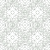 Seamless vector pattern. Symmetrical geometric background with grey rhombus and circles on the white backdrop. Decorative ornament Stock Photos