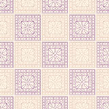 Seamless vector pattern. Symmetrical geometric background with pink and violet squares and circles. Decorative ornament Royalty Free Stock Image