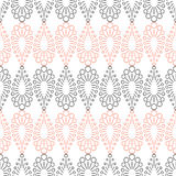 Seamless vector pattern. Symmetrical geometric background with red and black drops on the white backdrop. Decorative repeating orn Stock Images