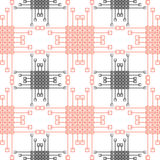 Seamless vector pattern. Symmetrical geometric background with red and black squares and lines. Decorative repeating ornament Stock Photos