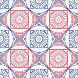 Seamless vector pattern. Symmetrical geometric background with red and blue rhombus and circles on the white backdrop. Decorative Stock Image