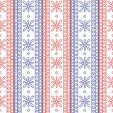 Seamless vector pattern. Symmetrical geometric background with red and blue squares and flowers on the white backdrop. Decorative Royalty Free Stock Photo