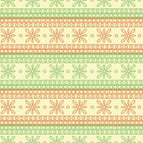 Seamless vector pattern. Symmetrical geometric background with red and green squares and flowers on the white backdrop.  Stock Images