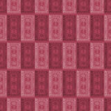 Seamless vector pattern. Symmetrical geometric background with red squares on the dark backdrop.  Stock Image