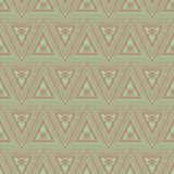 Seamless vector pattern. Symmetrical geometric background with red triangles on the green backdrop. Decorative ornament Stock Photography