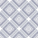 Seamless vector pattern. Symmetrical geometric background with rhombs and circles on the blue backdrop. Decorative ornament Royalty Free Stock Image