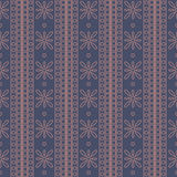 Seamless vector pattern. Symmetrical geometric background with squares and flowers on the dark blue backdrop. Decorative ornament Stock Images