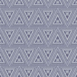 Seamless vector pattern. Symmetrical geometric background with triangles on the blue backdrop. Decorative ornament Royalty Free Stock Photography