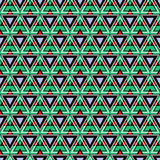 Seamless vector pattern. Symmetrical geometric background with triangles in green, black and red colors. Decorative repeating orna Stock Images