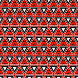 Seamless vector pattern. Symmetrical geometric background with triangles in red and black colors. Decorative repeating ornament. Stock Photos