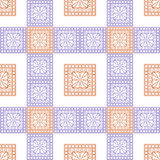 Seamless vector pattern. Symmetrical geometric background with violet and red squares on the white backdrop Royalty Free Stock Photography