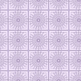 Seamless vector pattern. Symmetrical geometric background with violet squares and circles on the white backdrop. Decorative ornament vector illustration