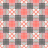 Seamless vector pattern. Symmetrical geometric black and red background with rhombus, squares and lines.  Stock Images