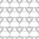 Seamless vector pattern. Symmetrical geometric black snd white background with triangles in the shape of stars  Royalty Free Stock Photo