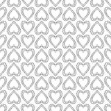 Seamless vector pattern. Symmetrical geometric black and white background with hearts. Decorative repeating ornament Royalty Free Stock Images