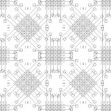 Seamless vector pattern. Symmetrical geometric black and white background with rhombus, squares and lines. Decorative repeating or Stock Photo