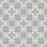 Seamless vector pattern. Symmetrical geometric black and white background with rhombus, squares and lines. Decorative repeating ornament Stock Images