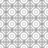 Seamless vector pattern. Symmetrical geometric black and white background with squares and circles. Decorative repeating ornament.  Royalty Free Stock Images