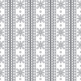 Seamless vector pattern. Symmetrical geometric black and white background with squares and flowers. Decorative ornament Royalty Free Stock Images