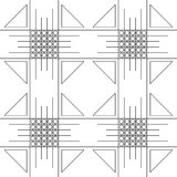 Seamless vector pattern. Symmetrical geometric black and white background with squares, trigons and lines.. Decorative repeating ornament Royalty Free Stock Photography