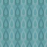 Seamless vector pattern. Symmetrical geometric blue background with drops. Decorative repeating ornament Royalty Free Stock Photo