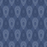Seamless vector pattern. Symmetrical geometric blue background with drops. Decorative repeating ornament Stock Photos