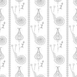 Seamless vector pattern. Symmetrical repeating background with decorative ornamental snails, flowers and leaves on the white backd Royalty Free Stock Photos