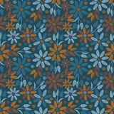 Seamless vector pattern with teal and orange florals vector illustration
