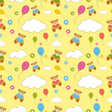 Seamless vector pattern with Teddy bears, clouds, flowers Stock Photos