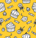 Seamless vector pattern or texture with sweets Stock Photography