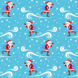 Seamless vector pattern on the theme of the new year. Santa Claus skates with a bag  gifts. Royalty Free Stock Images