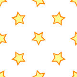 Seamless vector pattern or tile texture with white. Stars on orange background Stock Images