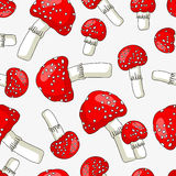 Seamless vector pattern of toadstools Stock Images