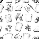 Seamless vector pattern with toasts, olives, tomatos, spices. Sandwich graphic design. Retro hand drawn illustration Royalty Free Stock Image