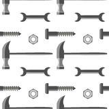 Seamless vector pattern with tools. Symmetrical with background with hammers Stock Images
