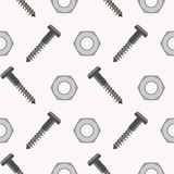 Seamless vector pattern with tools. Symmetrical background with screws and nuts on the white backdrop Stock Photography