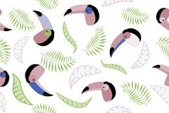Seamless vector pattern with toucans and tropical leaves. Cover templates for notepad. vector illustration