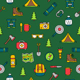 Seamless vector pattern of the tourist icons Stock Photos