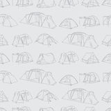 Seamless vector pattern of tourist tents Royalty Free Stock Image