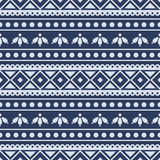 Seamless vector pattern.  Traditional ethno background in blue colors Royalty Free Stock Photos