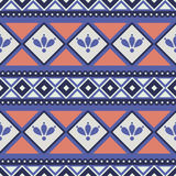 Seamless vector pattern.  Traditional ethno background in blue and red colors Royalty Free Stock Image